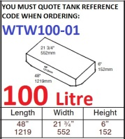100 LITRE Baffled Water Tank & Loose Hatch WTW100-01
