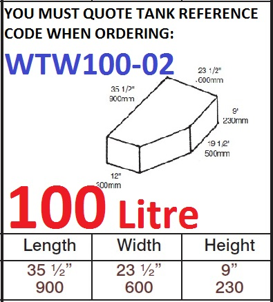 100 LITRE Water Tank & Loose Hatch WTW100-02