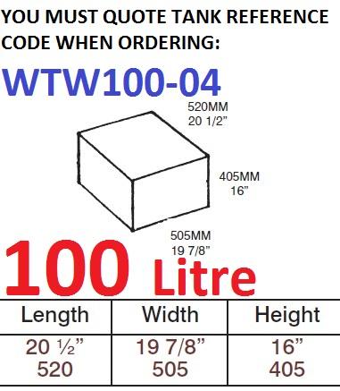 100 LITRE Water Tank & Loose Hatch WTW100-04