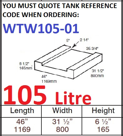 105 LITRE Water Tank & RAISED RED CAP WTW105-01