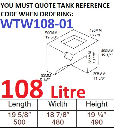 108 LITRE Water Tank & RED CAP WTW108-01
