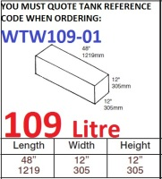 109 LITRE Baffled Water Tank & Loose Hatch WTW109-01