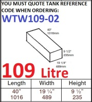 109 LITRE Baffled Water Tank & Loose Hatch WTW109-02