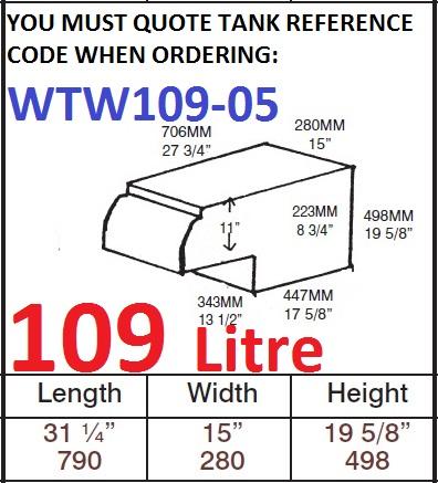 109 LITRE Water Tank & Loose Hatch WTW109-05