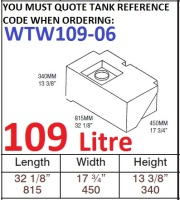109 LITRE Water Tank & RED CAP WTW109-06