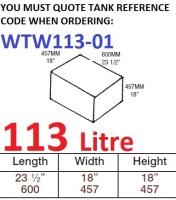 113 LITRE Water Tank & Loose Hatch WTW113-01