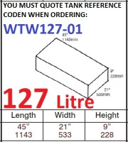 127 LITRE Water Tank & Loose Hatch WTW127-01