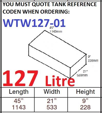 127 LITRE Water Tank & Loose Hatch WTW127-01