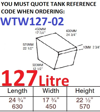 127 LITRE Water Tank & Loose Hatch WTW127-02