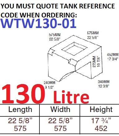 130 LITRE Water Tank & RED CAP WTW130-01