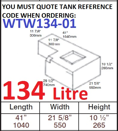 134 LITRE Water Tank & RED CAP WTW134-01