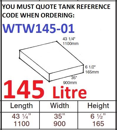 145 LITRE Water Tank & Loose Hatch WTW145-01