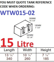 15 LITRE Water Tank & Loose Hatch WTW015-02