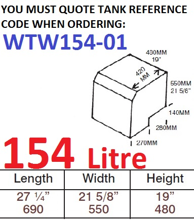 154 LITRE Water Tank & Loose Hatch WTW154-01
