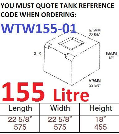 155 LITRE Water Tank & RED CAP WTW155-01