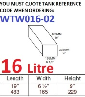 16 LITRE Water Tank & Loose Hatch WTW016-02