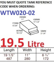 19.5 LITRE Water Tank & Loose Hatch WTW020-02