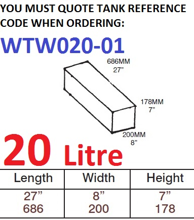 20 LITRE Water Tank & Loose Hatch WTW020-01