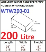 200 LITRE Water Tank & Loose Hatch WTW200-01