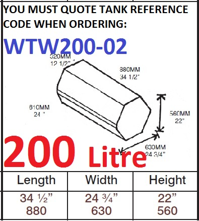 200 LITRE Water Tank & Loose Hatch WTW200-02