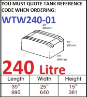 240 LITRE Baffled Water Tank & Loose Hatch WTW240-01