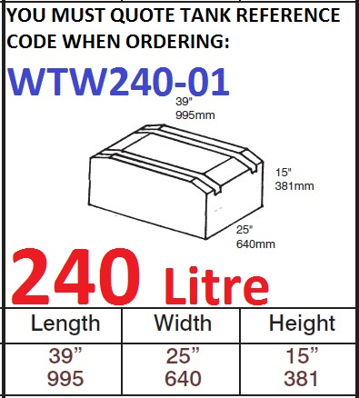 240 LITRE Water Tank & Loose Hatch WTW240-01