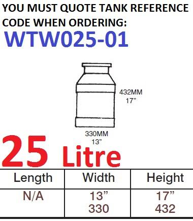 25 LITRE Water Tank & Loose Hatch WTW025-01