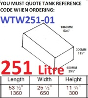 251 LITRE Water Tank & Loose Hatch WTW251-01