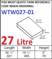 27 LITRE Water Tank & Loose Hatch WTW027-01