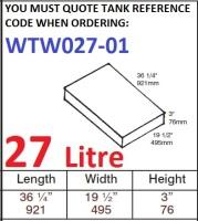 27 LITRE Water Tank & Loose Hatch WTW027-01