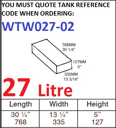 27 LITRE Water Tank & Loose Hatch WTW027-02