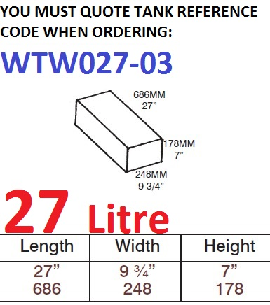 27 LITRE Water Tank & Loose Hatch WTW027-03