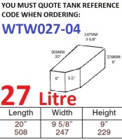 27 LITRE Baffled Water Tank & Loose Hatch WTW027-04