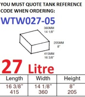 27 LITRE Water Tank & Loose Hatch WTW027-05