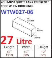 27 LITRE Water Tank & Loose Hatch WTW027-06