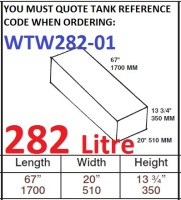 282 LITRE Water Tank & Loose Hatch WTW282-01