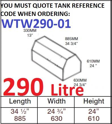 290 LITRE Water Tank & Loose Hatch WTW290-01