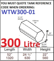300 LITRE Baffled Water Tank & Loose Hatch WTW300-01