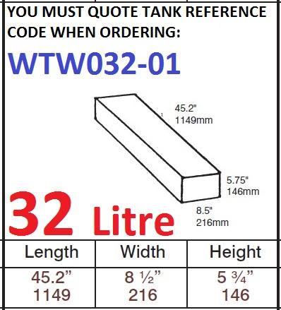 32 LITRE Water Tank & Loose Hatch WTW032-01