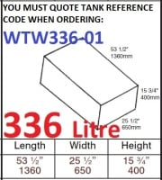 336 LITRE Water Tank & Loose Hatch WTW336-01