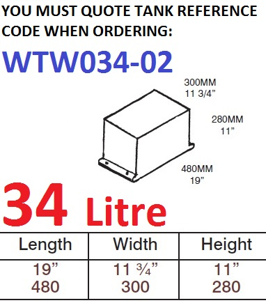 34 LITRE Water Tank with TWIN FIXING LIPS & Loose Hatch WTW034-02