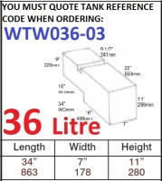 36 LITRE Water Tank & Loose Hatch WTW036-03