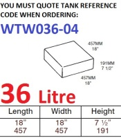 36 LITRE Baffled Water Tank & Loose Hatch WTW036-04