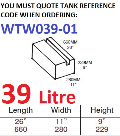 39 LITRE Water Tank & Loose Hatch WTW039-01