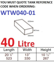 40 LITRE Water Tank & Loose Hatch WTW040-01