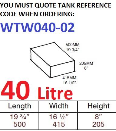 40 LITRE Water Tank & Loose Hatch WTW040-02
