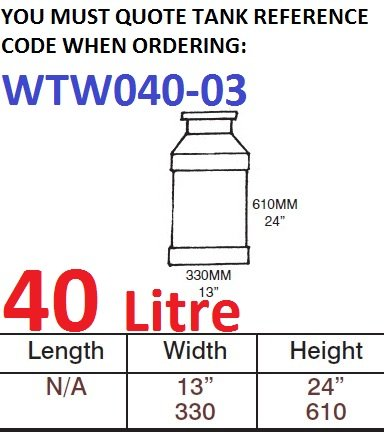 40 LITRE Water Tank & Loose Hatch WTW040-03