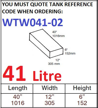 41 LITRE Water Tank & Loose Hatch WTW041-02