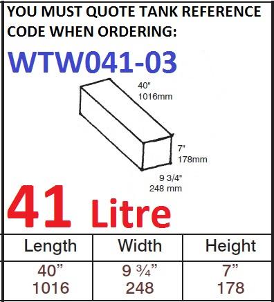41 LITRE Water Tank & Loose Hatch WTW041-03