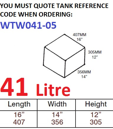 41 LITRE Water Tank & Loose Hatch WTW041-05